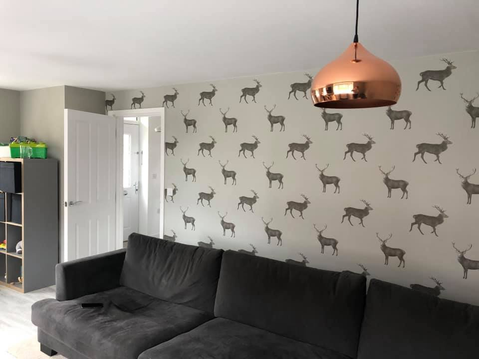 Reindeer wallpaper for living room feature wall