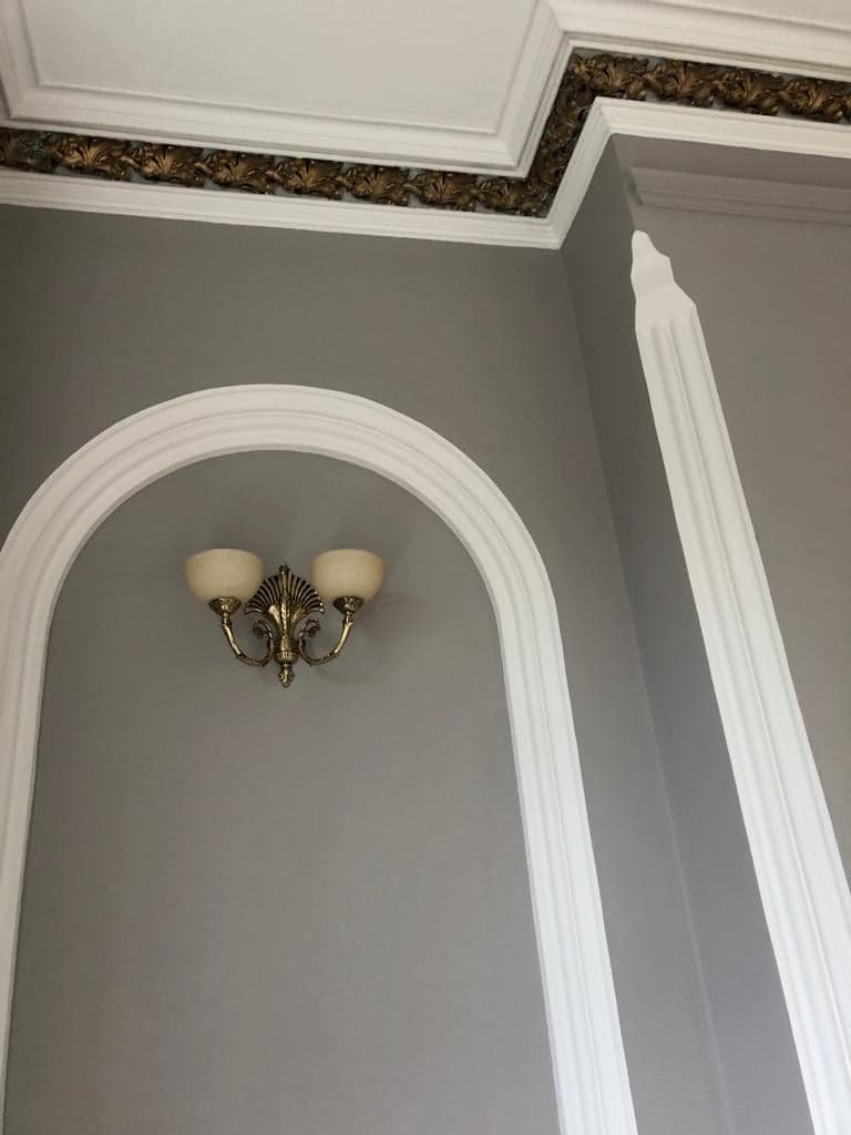 Grey paint on walls with white detailing