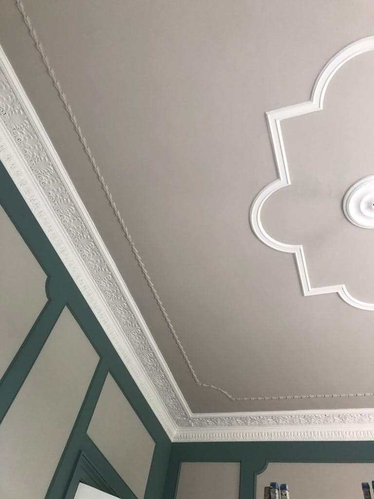 Ceiling and coving prepared to white and grey matt finish